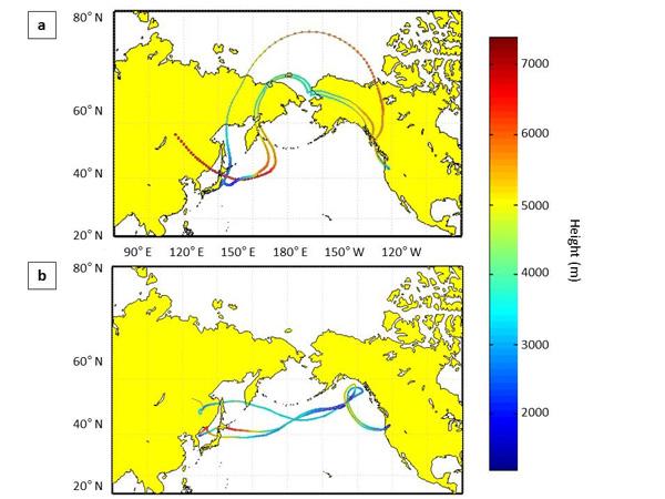 De stofwolken in april en mei. Afbeelding: University of Washington.