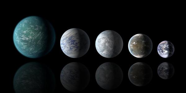 De aarde en de beste kandidaten voor leven. V.l.n.r.: Kepler-22b, Kepler-69c, Kepler-62e, Kepler-62f en de aarde. Afbeelding: NASA Ames / JPL-Caltech.