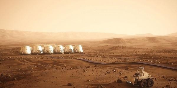 De nederzetting op Mars zoals Mars One deze voor zich ziet. Afbeelding: Mars One.