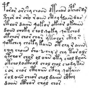 Een citaat uit het Voynichmanuscript. Kunt u hier iets van maken?