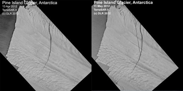 Links van de scheur is de ijsberg. Vorig jaar ontstond er in één maand tijd een tweede scheur.