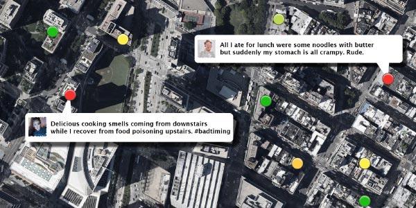 Twitter kan voorspellen welke restaurants u beter mijden kunt. Afbeelding: nEmesis: Which Restaurants Should You Avoid Today? / University of Rochester.