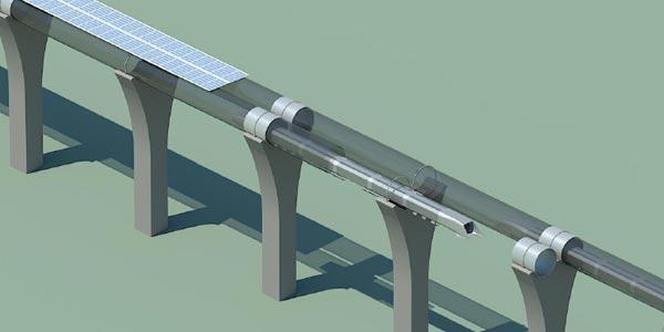 Als de buis waarin de capsules zich bevinden, boven de grond wordt aangelegd kan deze bedekt worden met zonnepanelen. Afbeelding: Elon Musk.
