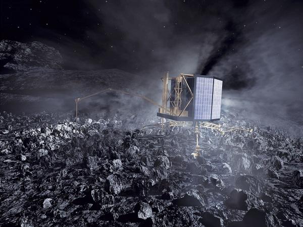 Rosetta's Philae lander op de kern van de komeet.  Animatie: ESA / AOES Medialab