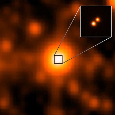 Het dubbelstersysteem. De grote afbeelding is gemaakt door WISE. De inzet door Gemini. Afbeelding: NASA / JPL / Gemini Observatory / AURA / NSF.