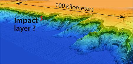 Een kaart van de klif, met een laagje gesteenten dat wel eens uit de tijd van de inslag zou kunnen stammen. Afbeelding: © 2013 MBARI.