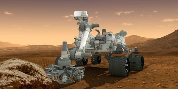 Marsrover Curiosity is één van de robots die nu reeds op Mars te vinden zijn. Het grote verschil tussen deze robot en de robots van Mars One is dat Curiosity vooral een mobiel laboratorium is, terwijl de robots van Mars One minder onderzoekend bezig zijn. Het zijn geen wetenschappers, maar werkpaarden. Afbeelding: NASA.