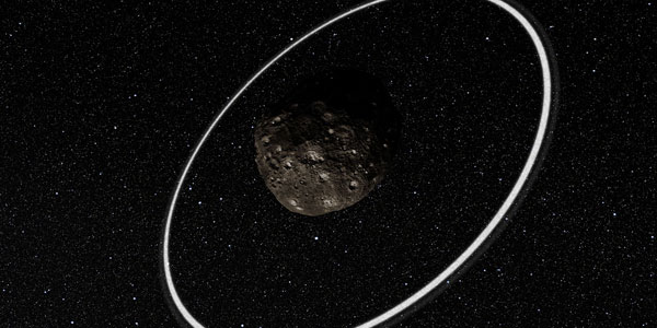 Chariklo - te vinden tussen de banen van Saturnus en Uranus - en zijn ringen. In de toekomst kunnen we waarschijnlijk aan dit plaatje ook nog een maantje toevoegen. Afbeelding: ESO / L. Calçada / M. Kornmesser / Nick Risinger.
