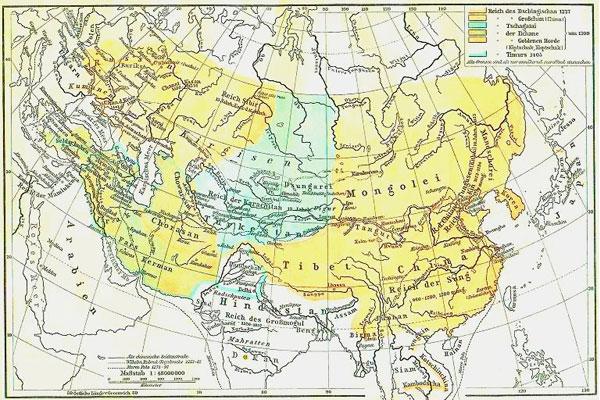 Het Mongoolse Rijk in 1227. Afbeelding: via Wikimedia Commons.