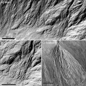 Boven en linksonder: geultjes en afzettingen op Mars. Rechtsonder: geultjes en afzettingen op aarde (Spitsbergen). Afbeelding: NASA / JPL / UofA for HiRISE.