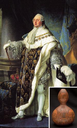 Lodewijk XVI. Inzet: de sierpompoen die zijn bloed zou bevatten.