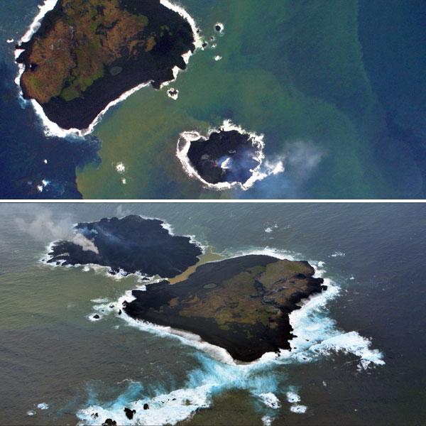 Het nieuwe eiland kruipt langzaam richting zijn buurman. De eerste foto stamt uit begin december. De tweede uit eind december vorig jaar. Afbeeldingen: Japanse Kustwacht.