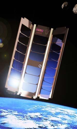 Een artistieke impressie van de satelliet waarmee de onderzoekers later dit jaar zulke experimenten willen gaan uitvoeren. Afbeelding: Sean Amidan.