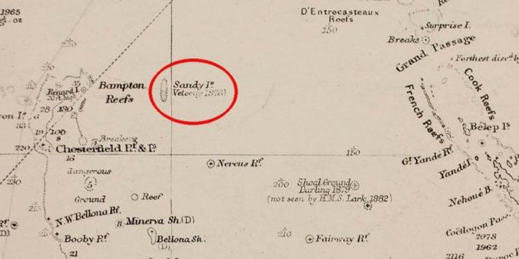 Sandy Island op een kaart uit 1908. Afbeelding: Auckland Museum.