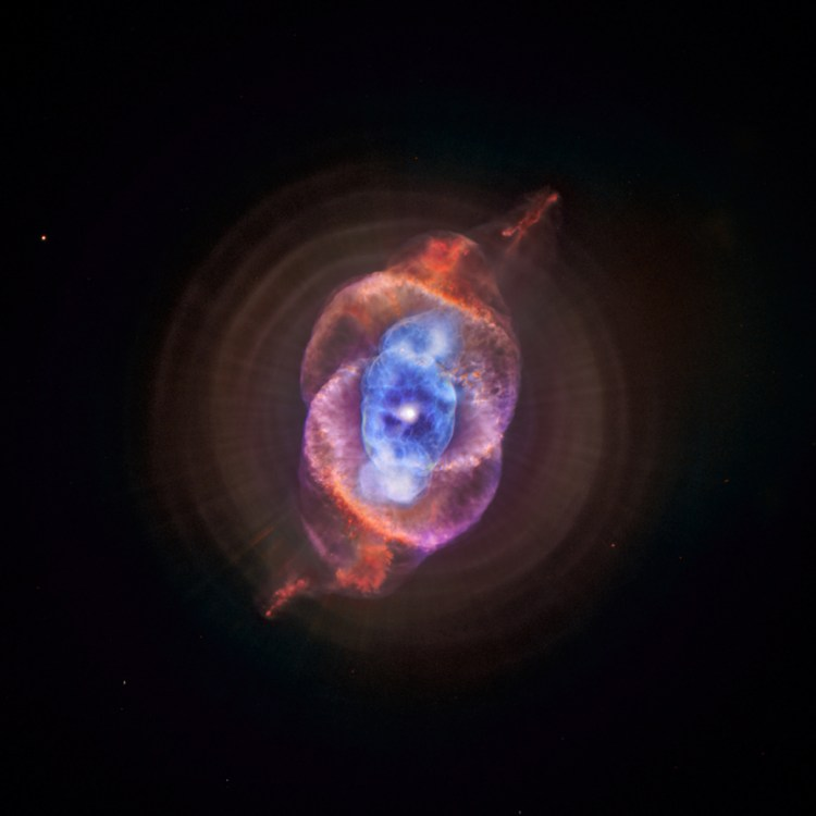 Also known as the Cat's Eye, this planetary nebula is located about 3,000 light years from Earth.