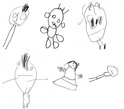 Tekeningen die kinderen op vierjarige leeftijd maakten. De tekening linksboven scoorde een 6, de tekening daarnaast een 10 en de tekening daarnaast een 6. De scores van de tekeningen daaronder (v.l.n.r.): 6, 10, 7. Afbeelding: King's College London.