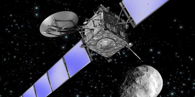 De Rosetta-ruimtesonde in een artistieke impressie