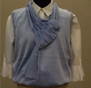De blauwe kledingstukken zijn gemaakt van hybride zijde.