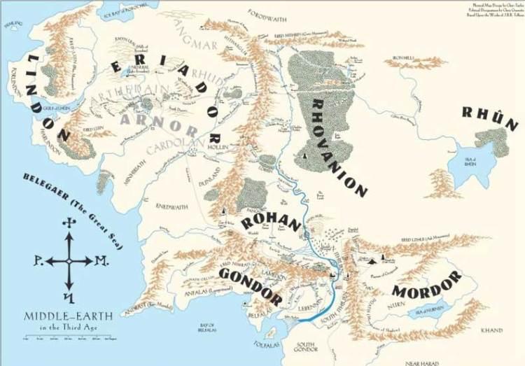Midden-aarde, het continent waarop een aantal verhalen van Tolkien zich afspelen. Op het continent leven tal van bijzondere wezens, waaronder de eerdergenoemde elfen, hobbits en tovenaars. Maar ook trollen, orks, dwergen en wargs.