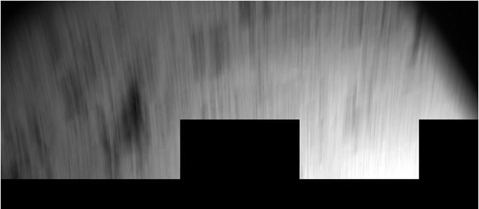 Veel bewegingsonscherpte op deze foto van Philae. Dit kiekje is gemaakt naar de eerste 'sprong' op de komeet.