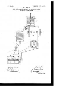 Het originele patent uit 1902 laat zien hoe teergebonden macadam ('tarmac') wordt geproduceerd.