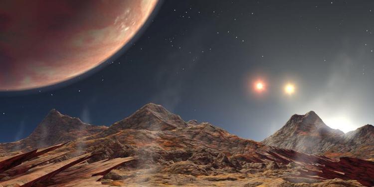 Misschien zijn er ook wel manen te vinden die cirkelen om planeten die deel uitmaken van een drievoudig stersysteem. Het uitzicht vanaf die manen moet spectaculair zijn. Afbeelding: NASA / JPL-Caltech.