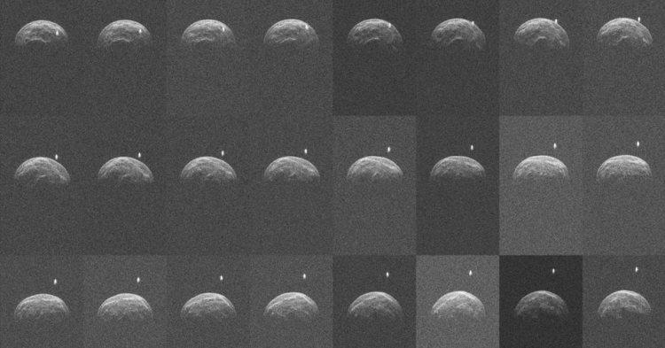 De beelden die onderzoekers van planetoïde 2004 BL86 maakten. Afbeelding: NASA / JPL-Caltech / NRAO / AUI / NSF.