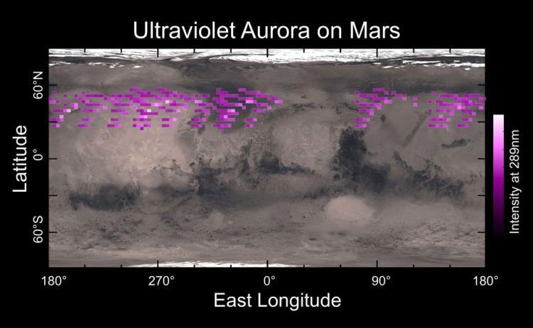 Ultraviolette aurora's komen overal op Mars voor.