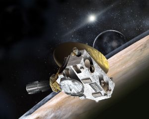 De New Horizons-ruimtesonde vliegt met een snelheid van 16,2 kilometer per seconde - oftewel bijna 60.000 kilometer - bij de aarde vandaan.