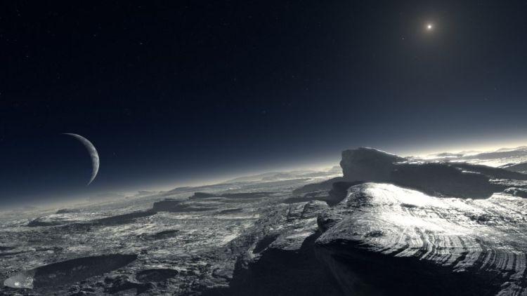 Artistieke impressie van Pluto en Charon.