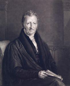 Thomas Robert Malthus: de bedenker van het malthusiaans plafond. Afbeelding gemaakt door John Linnel. Klik voor een vergroting. Bron: wellcomeimages.org.