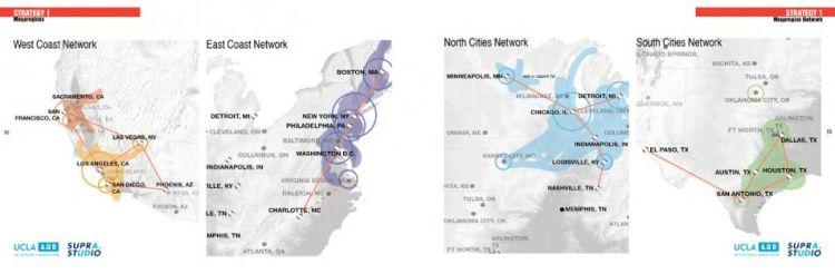 Vier mogelijke netwerken in de Verenigde Staten.