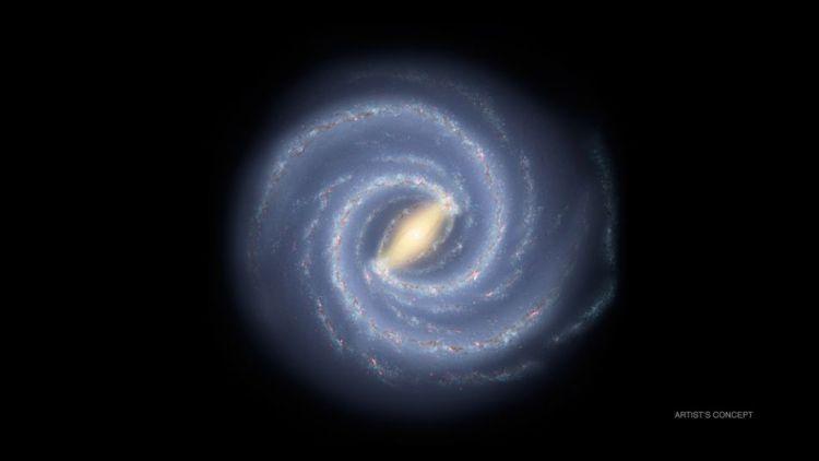 Mogelijk ziet ons Melkwegstelsel er van een afstand zó uit.