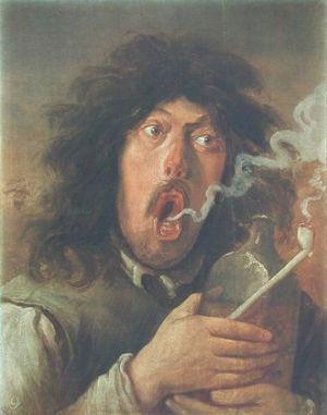 Tabak was begin 17de eeuw zwaarder en bedwelmender dan nu. Sommige dokters prezen de geneeskrachtige wer- king, maar dat was omstreden.  De gewoonte was voldoende nieuw om er aparte aandacht aan te besteden in de schilderkunst. Deze roker werd geportretteerd door Adriaen Brouwer.