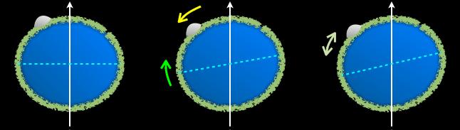 Een schematisch voorbeeld van True Polar Wander. De positie van de polen kan veranderen, omdat er een verschil in massa is.