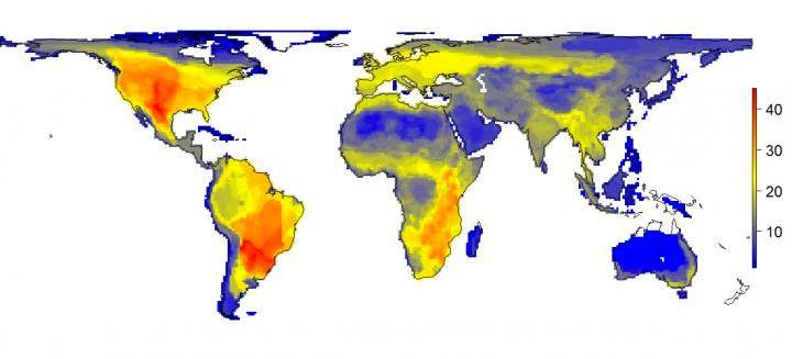 Zo zou de diversiteit er vandaag de dag uitzien als de moderne mens er niet was geweest: opeens winnen Noord- en Zuid-Amerika het van Afrika! Afbeelding; Soren Faurby.