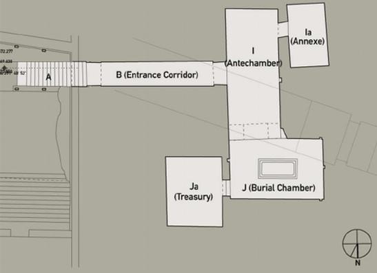 Een plattegrond van de tombe van Toetanchamon zoals we die nu kennen. Afbeelding: © Theban Mapping Project.