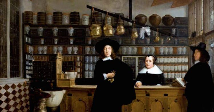 Anoniem schilderij van een apothekerswinkel omstreeks 1650. Afgebeeld zijn de apotheker (midden), zijn vrouw en een winkelbediende.