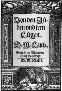 Het titelblad van het boek  'Von den Juden und ihren Lügen' geschreven door Maarten Luther.
