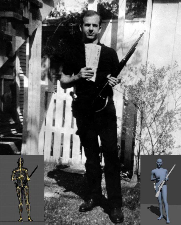 De beroemde foto van Lee Harvey Oswald. Afbeelding: Warren Commission. Inzetten: de modellen van de onderzoekers. Afbeeldingen: Hany Farid.