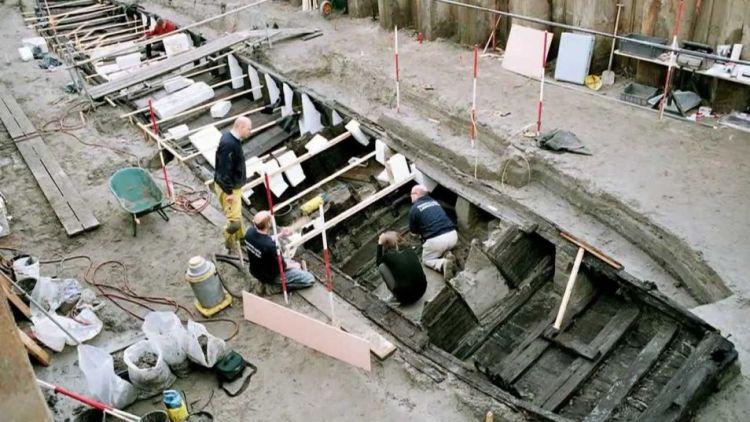 Het wrak van een Romeinse zeilboot, nu genaamd De Meern 1.