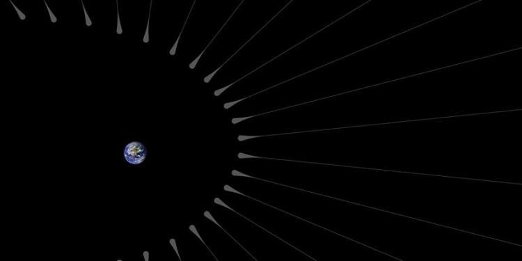 Hier zie je de donkere materie-haarwortels die zich wellicht nabij de aarde bevinden (niet op schaal). Afbeelding: NASA / JPL-Caltech.