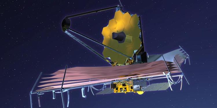 Eenmaal voltooid zal de telescoop er zo uit komen te zien. Afbeelding: NASA.