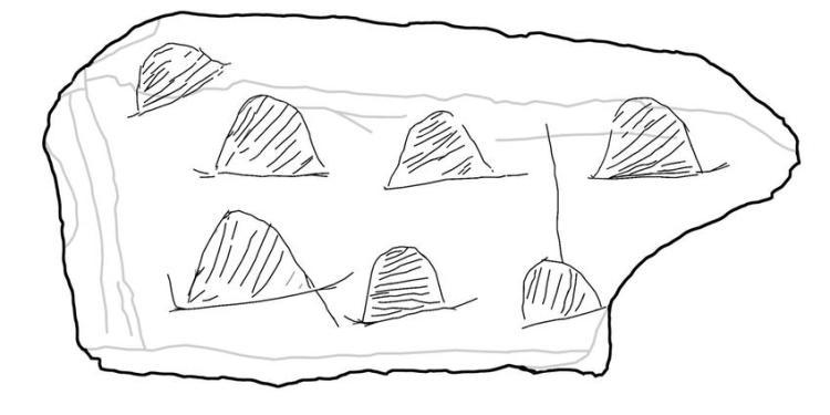 Een schets van de zeven hutten op de steen.