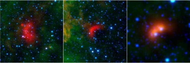 Diverse boeggolven. De vorm en omvang van de boeggolven wordt bepaald door de snelheid waarmee de ster zich voortbeweegt en de massa van de ster. Afbeelding: NASA / JPL-Caltech / University of Wyoming.