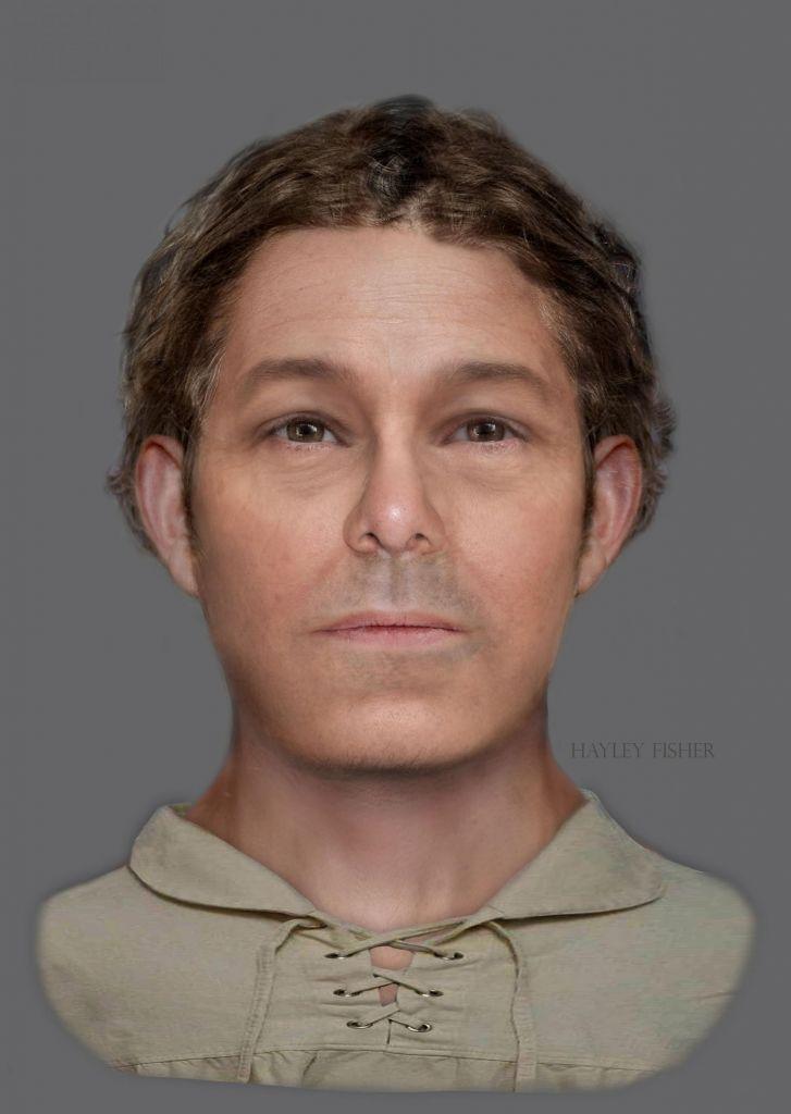 Op basis van de schedel is ook een reconstructie van het gezicht van de piraat gemaakt. Afbeelding: Hayley Fisher.