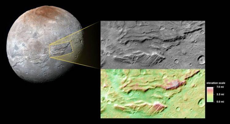Maan Charon en uitgelicht Serenity Chasma. Afbeelding: NASA / JHUAPL / SwRI.