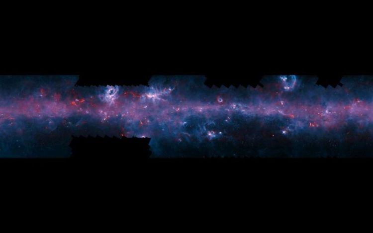 Het 'slotakkoord' van ATLASGAL. Afbeelding: ESO / APEX / ATLASGAL consortium / NASA / GLIMPSE consortium / ESA / Planck.