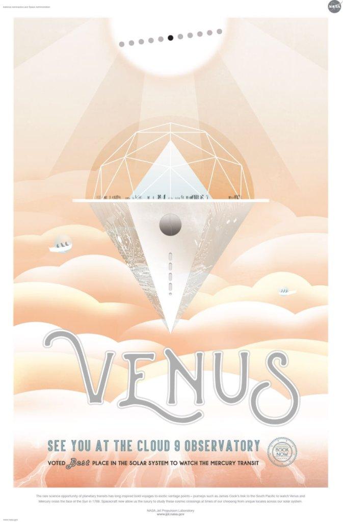 Nog zo'n exotische - en broeierige - eindbestemming: Venus. En als klap op de vuurpijl is deze planeet de plek bij uitstek om Mercurius voor de zon langs te zien bewegen. Afbeelding: NASA / JPL.
