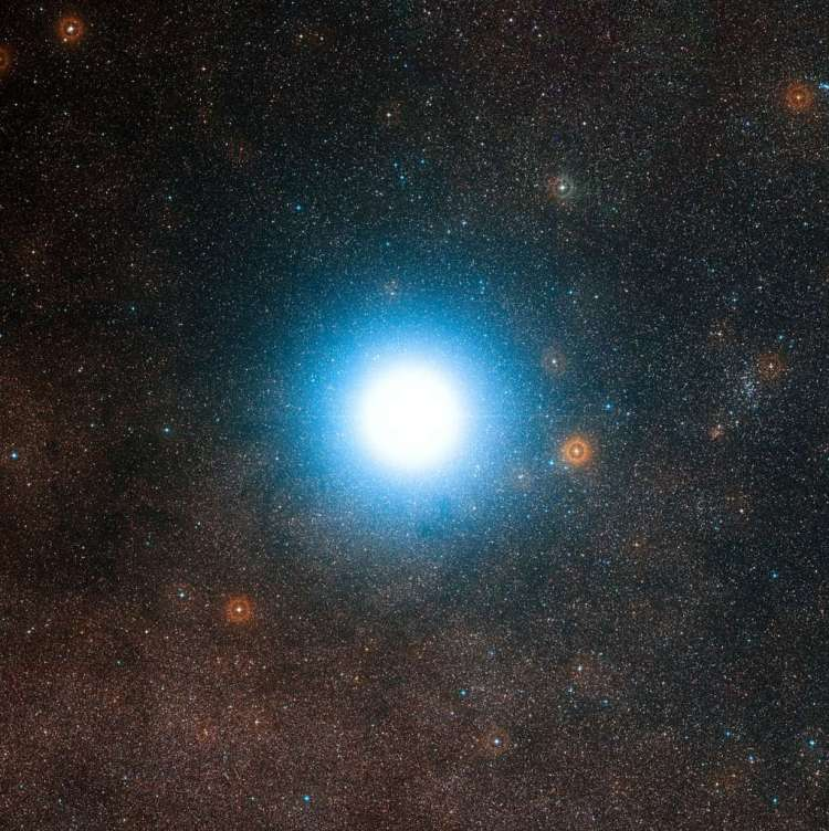 Alpha Centauri en omgeving. Afbeelding: ESO / Digitized Sky Survey 2 / Davide De Martin.